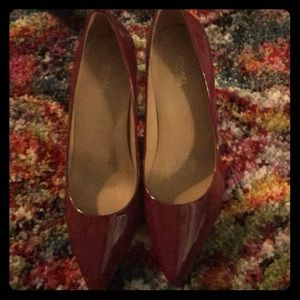 "Red patent pumps. 3""heel Michael Kors"